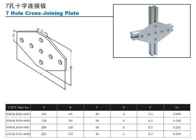 7 holes cross-joint plate