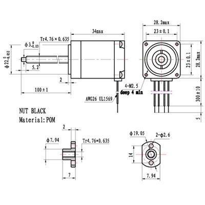 Nema11 34mm threaded rod stepper