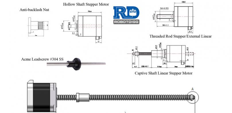 Ball Screw or Lead Screw Linear Stepper Motor