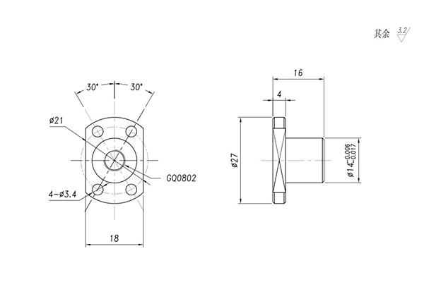 0802 ball screw nut