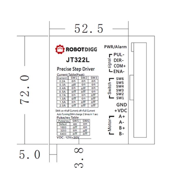 JT322AN Analog, JT322 or JT322L pulse n direction Stepper