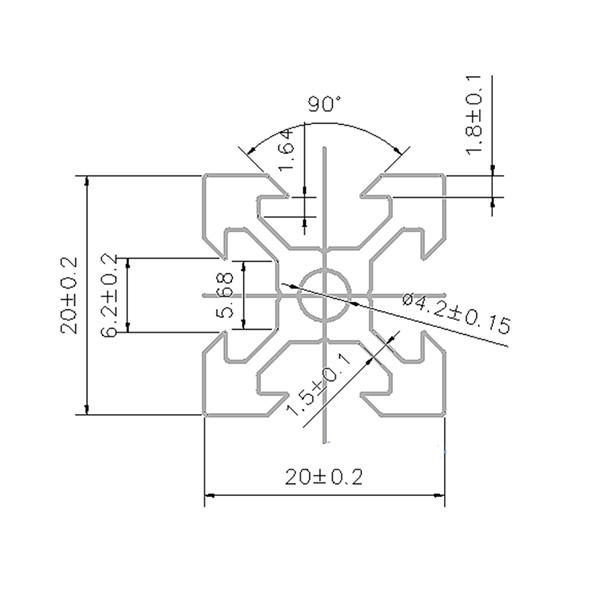 20x20 Groove 6 system profile 2020 FACES Profile Aluminium Profile Design Profile 60CM