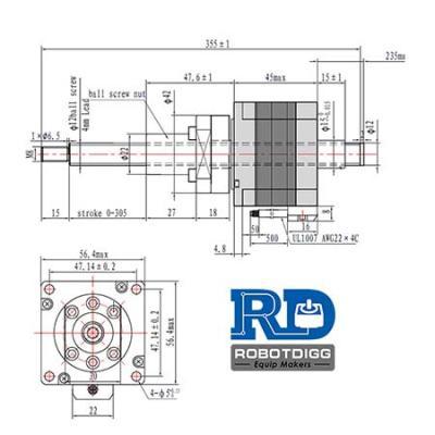 Non-captive NEMA23 Stepper Motor Ball Screw Linear Actuator