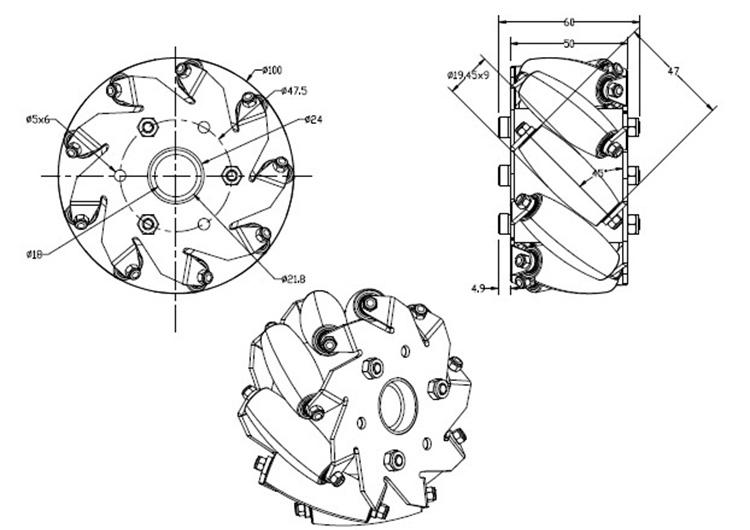 4 inch mecanum wheel