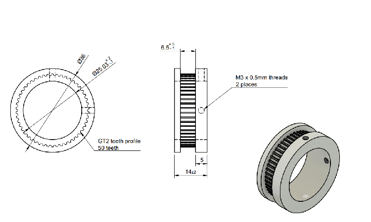 GT2 pulley for robot