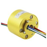 Slip ring hollow shaft through bore rotating miniature electrical connector
