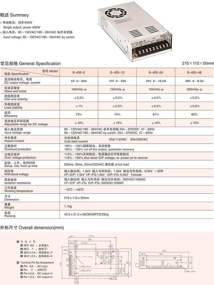 48V 400W power supply