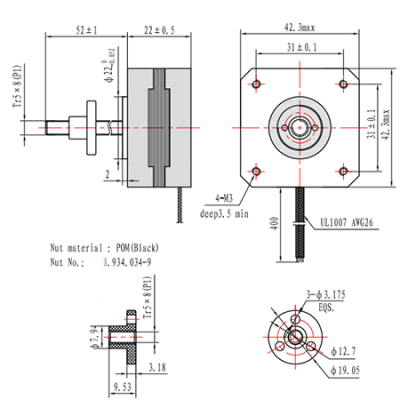 NEMA17 22mm linear stepper motor with 52mm Tr5*8 lead screw