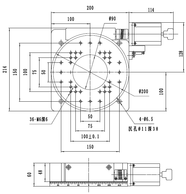 PX110-200 rotary table
