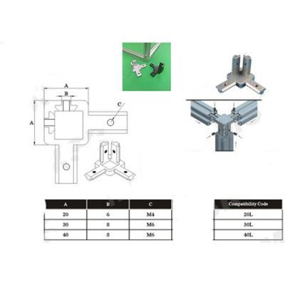 2020, 3030, 4040 3-way T Slot 90 deg inner corner bracket for Aluminum Profile