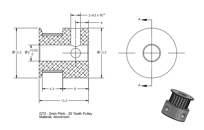 CoreXY Pulley 20T