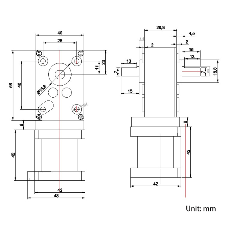 stepper motor with worm gearbox