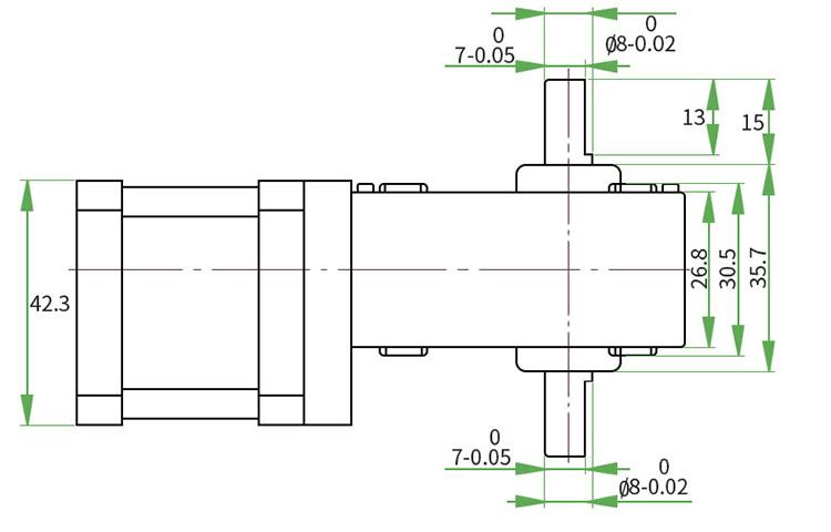 Dual shaft worm gear stepper